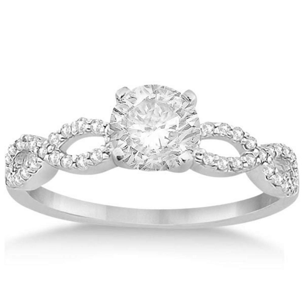 Twisted Infinity Diamond Engagement Ring Setting 14K White Gold (0.71ctw) #PAPPS20388