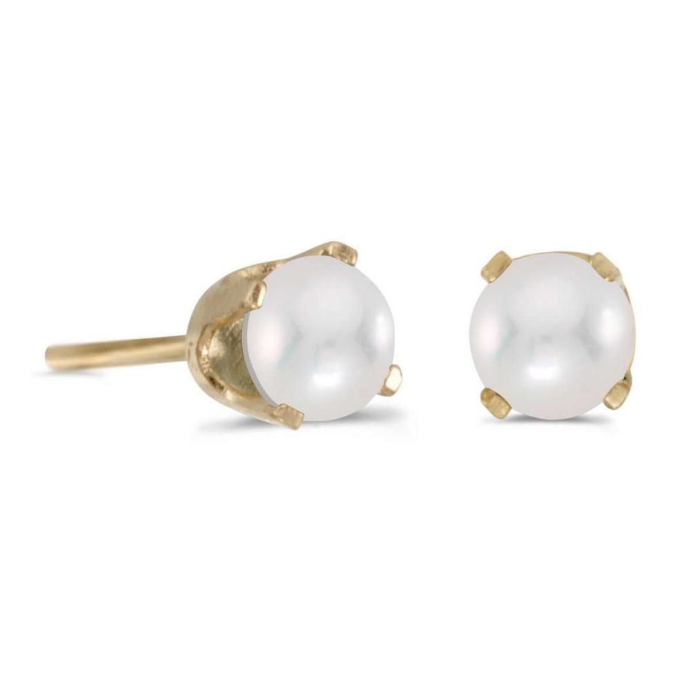 Certified 4 mm Pearl Stud Earrings in 14k Yellow Gold #PAPPS25041