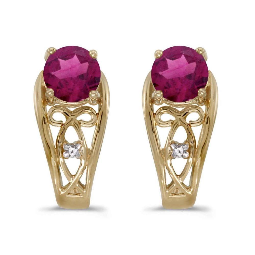 Certified 14k Yellow Gold Round Rhodolite Garnet And Diamond Earrings 0.85 CTW #PAPPS24994