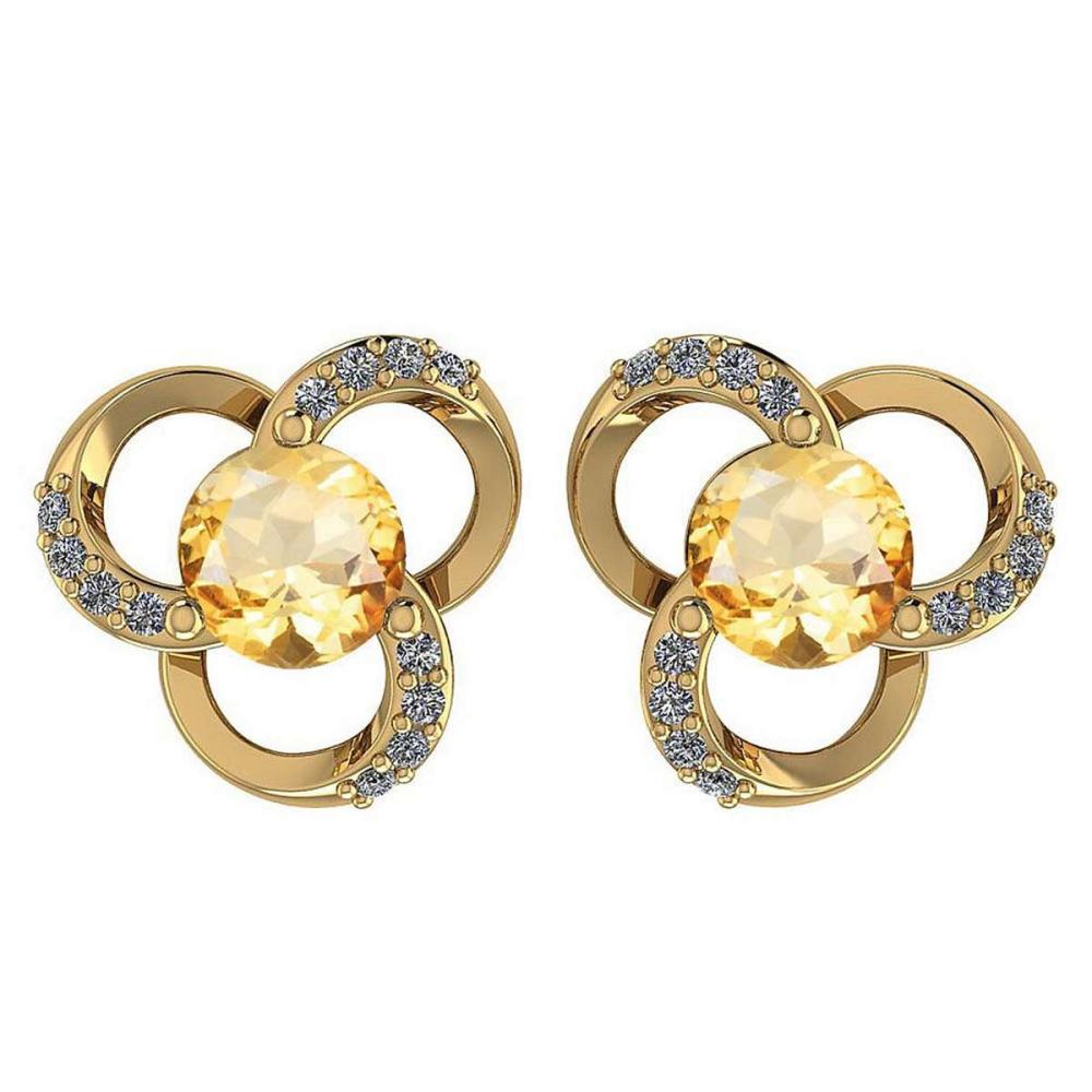 1.2Ctw Citrine And Diamond 14k Yellow Gold Halo Stud Earring #PAPPS96895