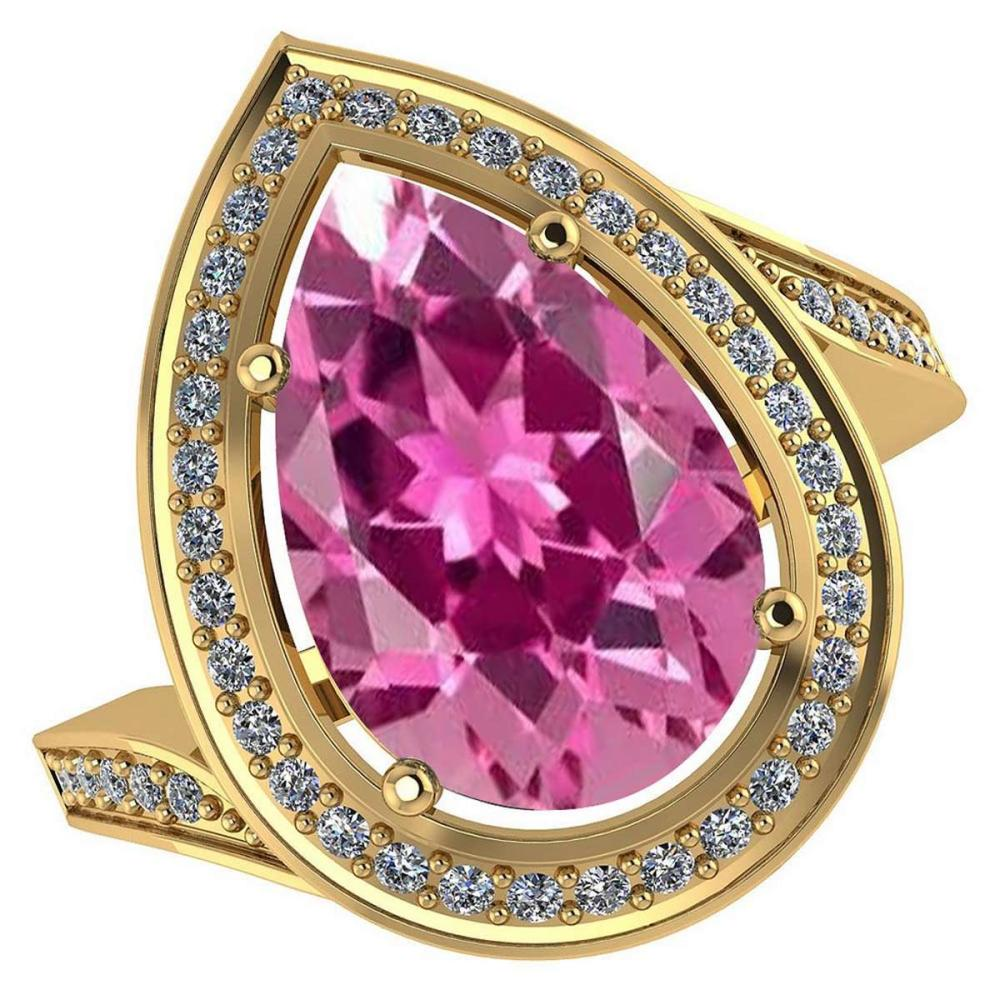 Certified 2.96 CTW Genuine Pink Tourmaline And Diamond 14K Yellow Gold Ring #PAPPS91916