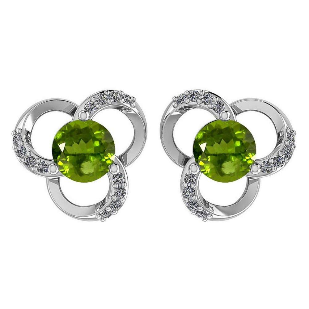 1.2Ctw Peridot And Diamond 14k White Gold Halo Stud Earring #PAPPS96921