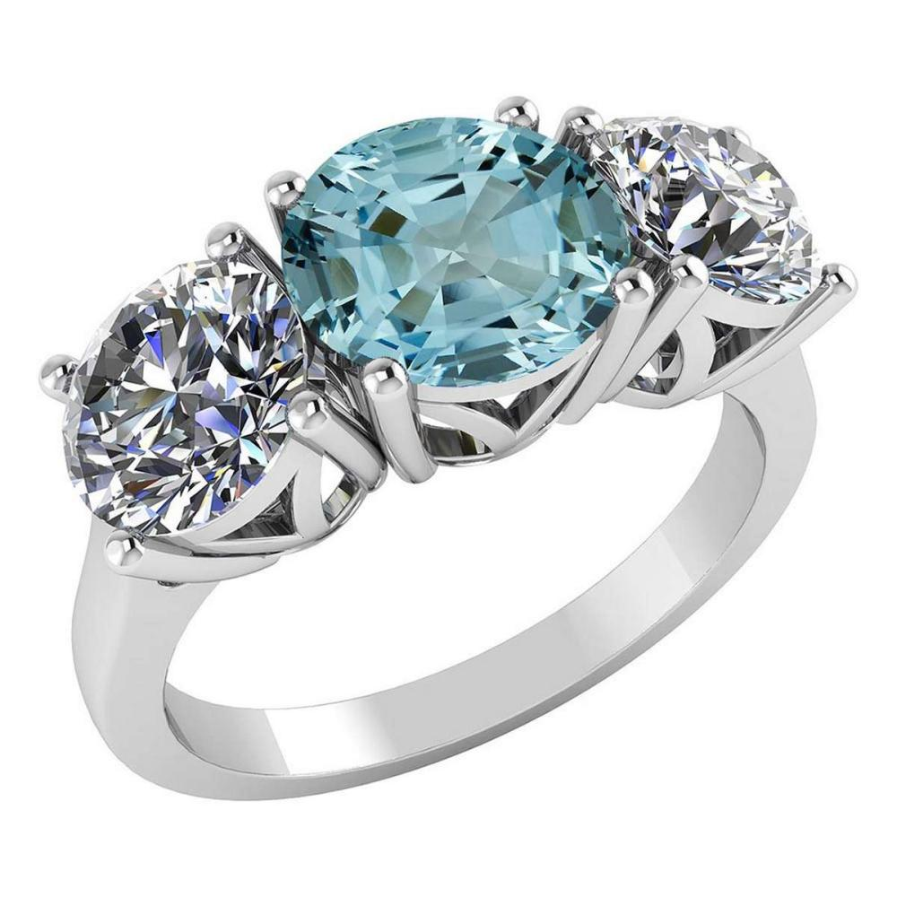 Certified 1.60 CTW Genuine Aquamarine And Diamond 14K White Gold Ring #PAPPS92217