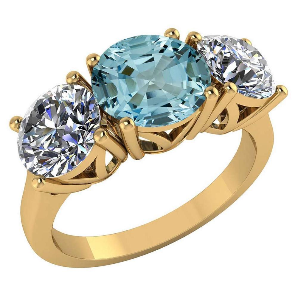 Certified 1.60 CTW Genuine Aquamarine And Diamond 14K Yellow Gold Ring #PAPPS92206