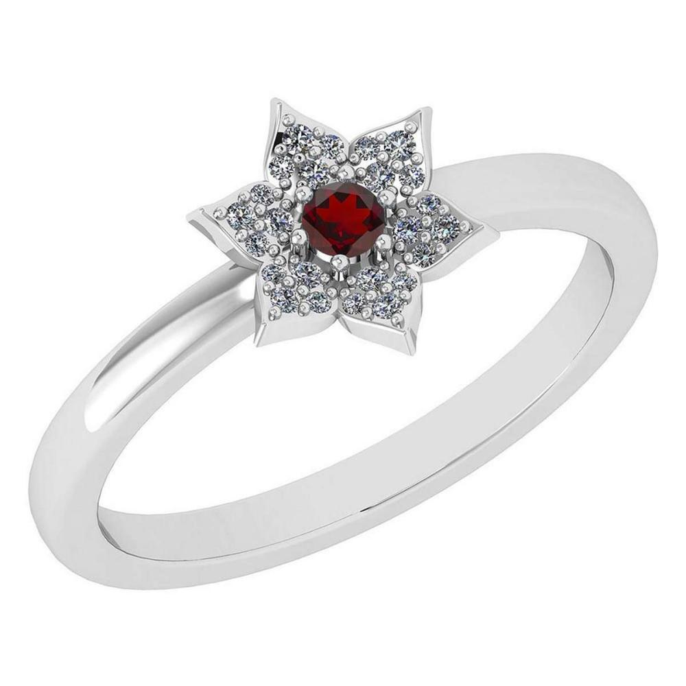 Certified .39 Ctw Genuine Garnet And Diamond 14k White Gold Halo Ring #PAPPS94470