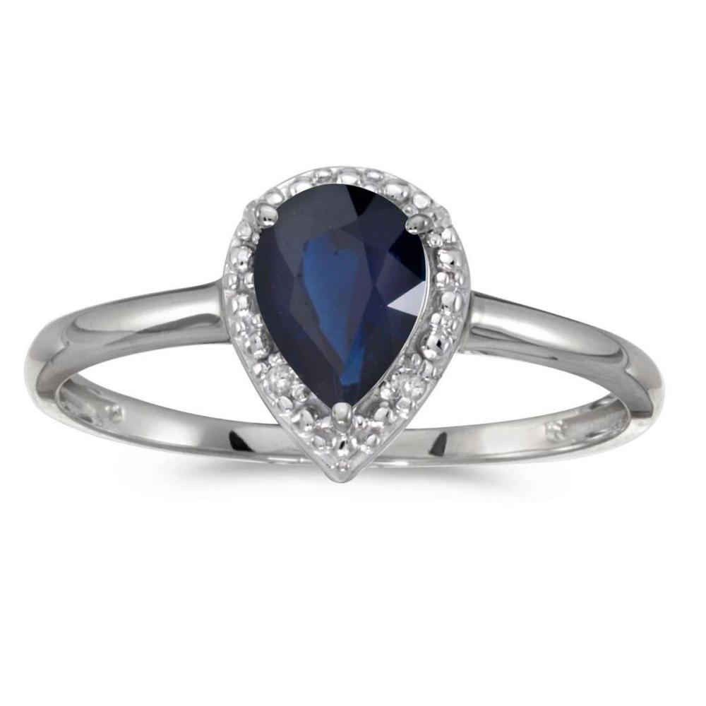 Certified 14k White Gold Pear Sapphire And Diamond Ring 0.65 CTW #PAPPS25573