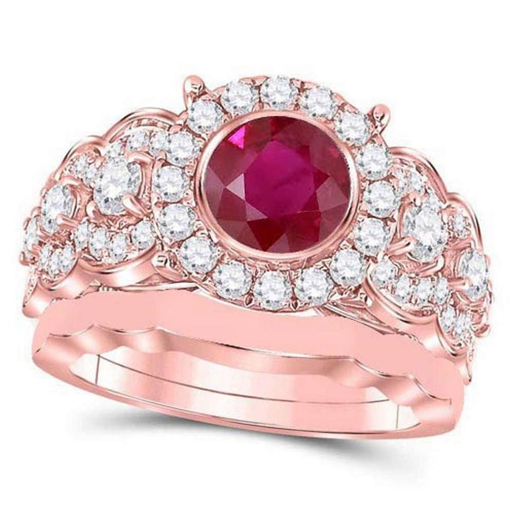 Certified 2.80 CTW Genuine Ruby And Diamond 14K Rose Gold Ring #PAPPS91387
