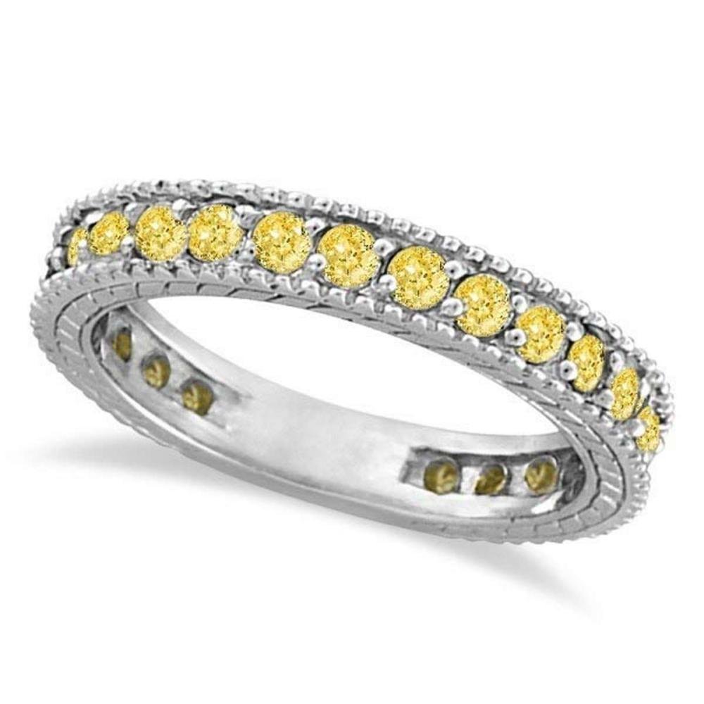 Fancy Yellow Canary Diamond Eternity Ring Band 14k White Gold (1.00ct) #PAPPS20872