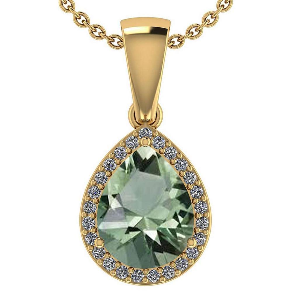Certified 2.12 Ctw Green Amethyst And Diamond 14k Yellow Gold Halo Pendant #PAPPS95388