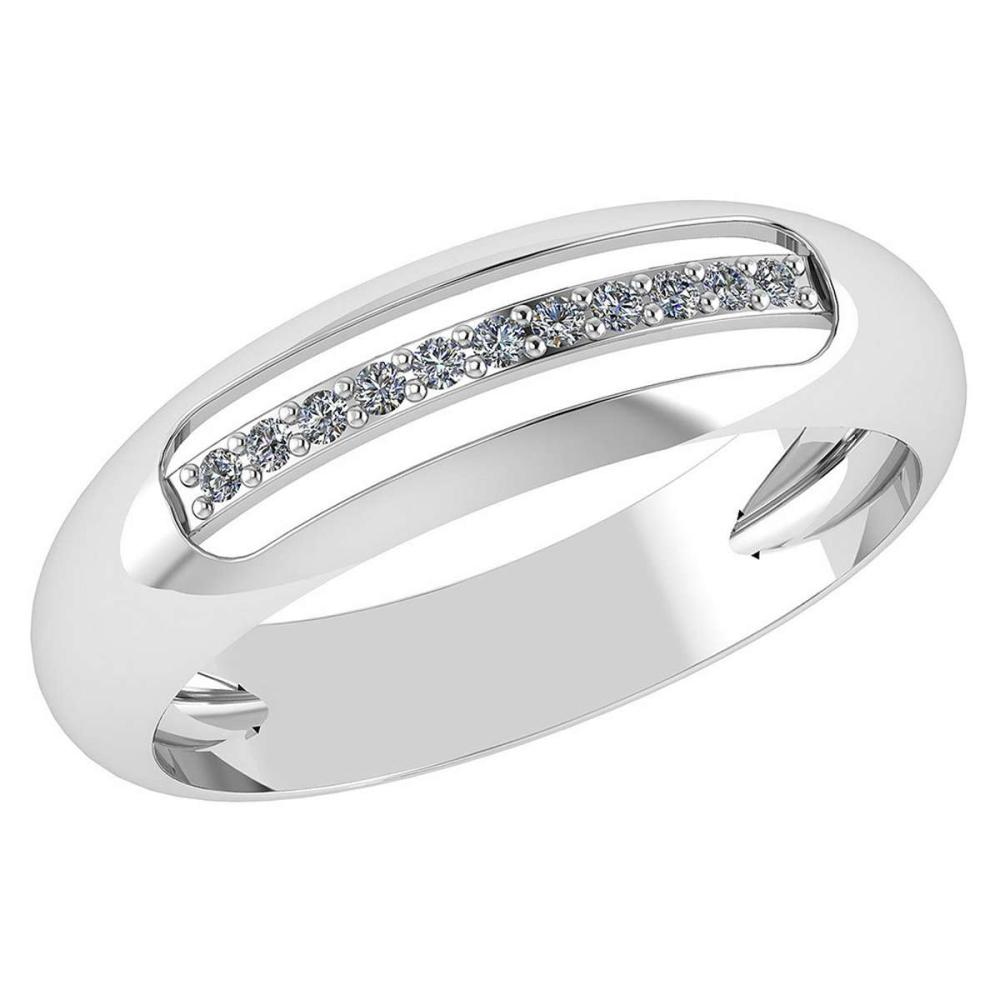 Certified .07 CTW Diamond Genuine 14K White Gold Engagement Band Ring #PAPPS93458