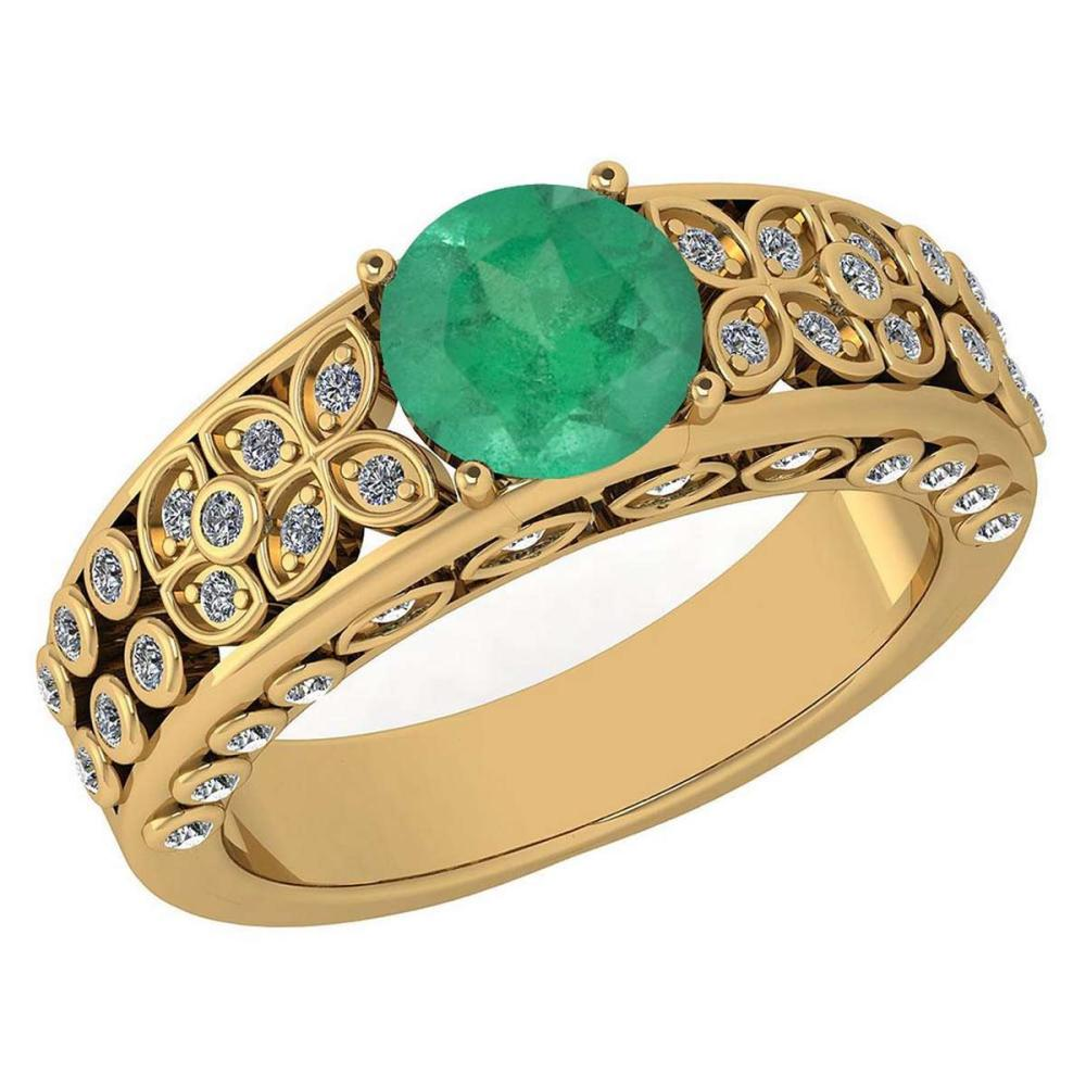 Certified 1.57 Ctw Emerald And Diamond Wedding/Engagement 14K Yellow Gold Halo Ring #PAPPS16777