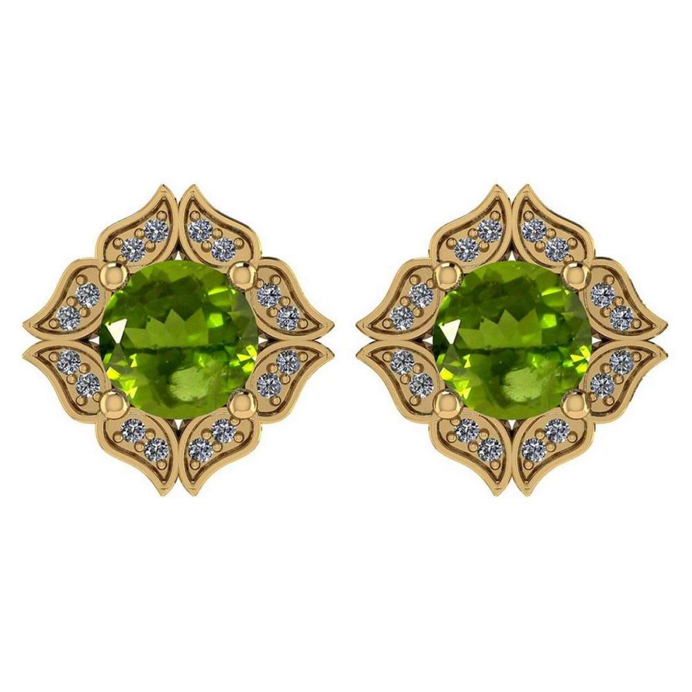 Certified .98 Ctw Genuine Peridot And Diamond 14k Yellow Gold Halo Stud Earrings #PAPPS94500