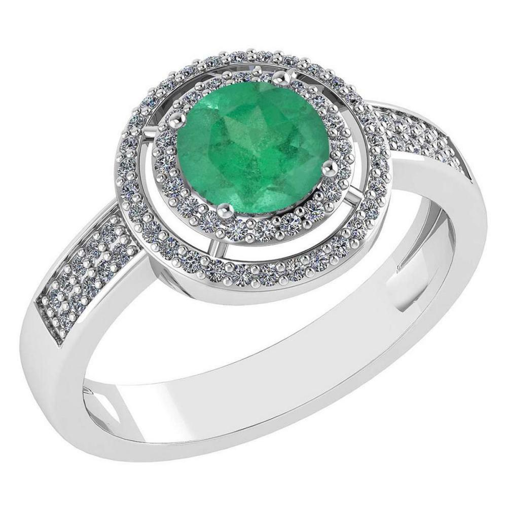 1.35 Ctw Emerald And Diamond 14k White Gold Halo Ring #PAPPS96859
