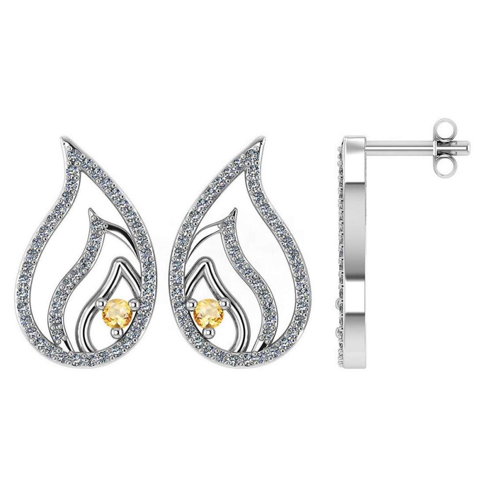 Certified .30 CTW Genuine Citrine And Diamond 14K White Gold Stud Earring #PAPPS93542