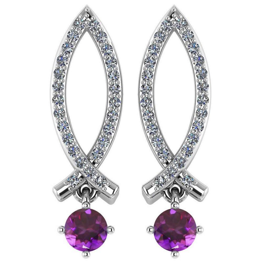 Certified .72 Ctw Genuine Amethyst And Diamond 14k White Gold Earrings #PAPPS94531