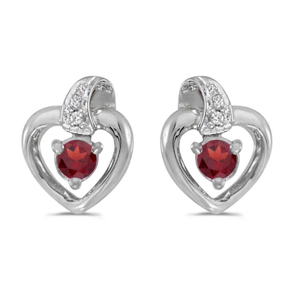 Certified 10k White Gold Round Garnet And Diamond Heart Earrings 0.25 CTW #PAPPS24951