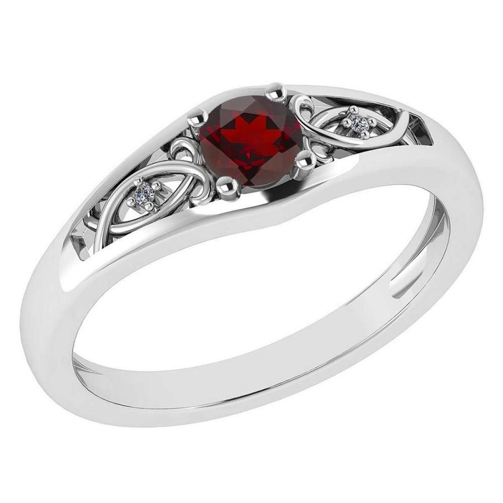 Certified 0.37 Ctw Garnet And Diamond 14k White Gold Halo Ring #PAPPS95465