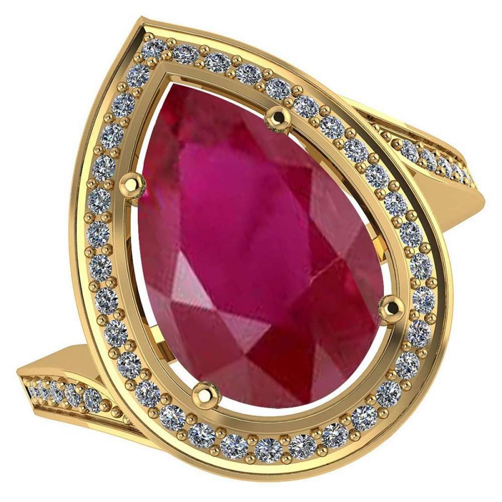 Certified 2.20 CTW Genuine Ruby And Diamond 14K Yellow Gold Ring #PAPPS91917