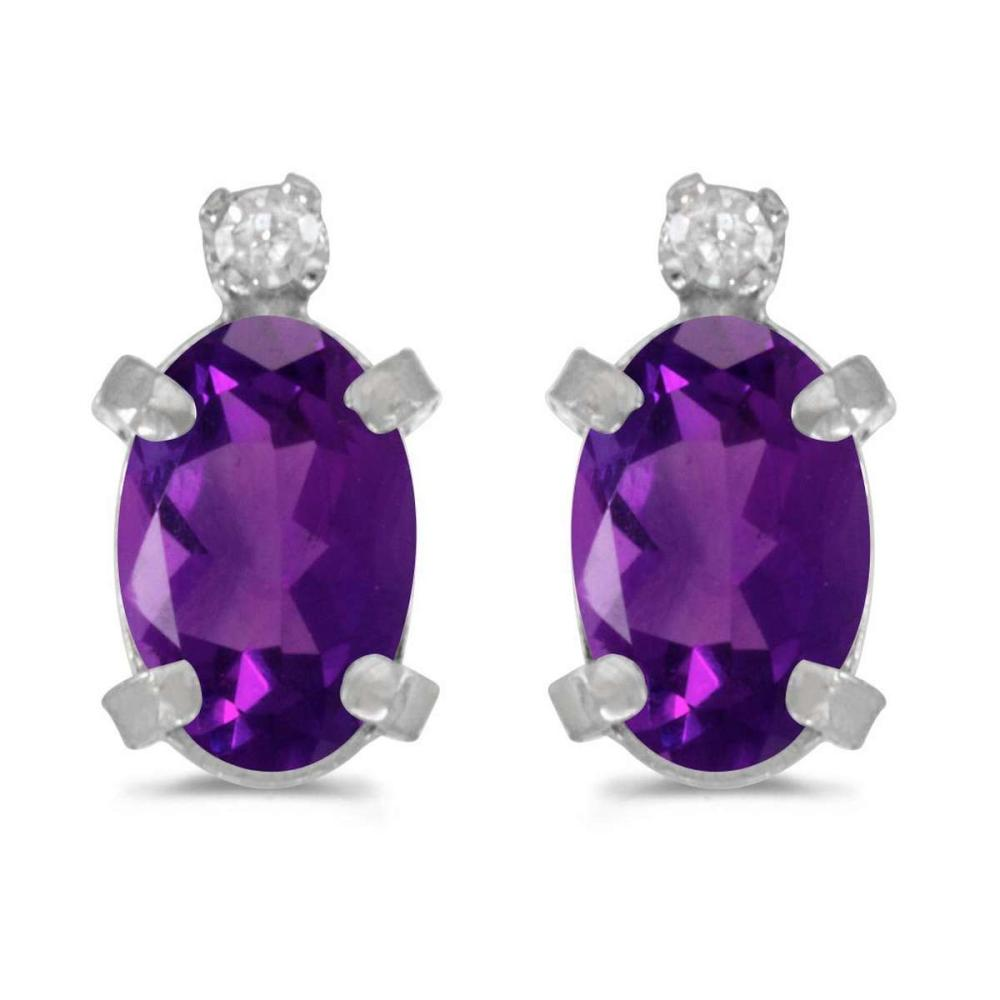 Certified 14k White Gold Oval Amethyst And Diamond Earrings 0.7 CTW #PAPPS25000