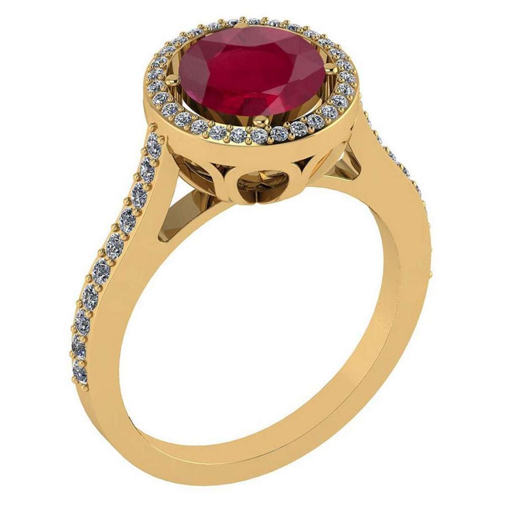 2.23 Ctw Ruby And Diamond 14k Yellow Gold Halo Ring #PAPPS96803