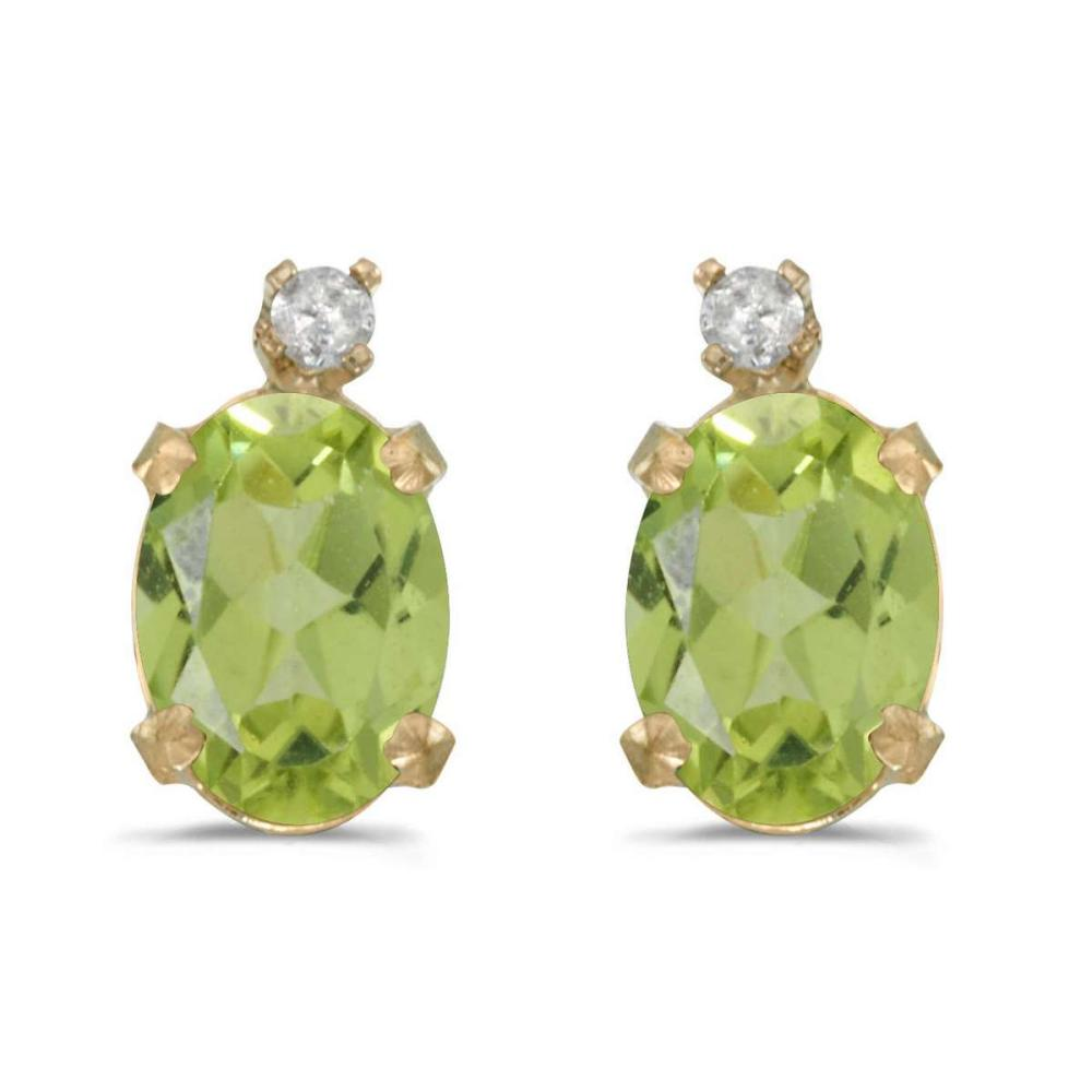 Certified 14k Yellow Gold Oval Peridot And Diamond Earrings 1.38 CTW #PAPPS25027