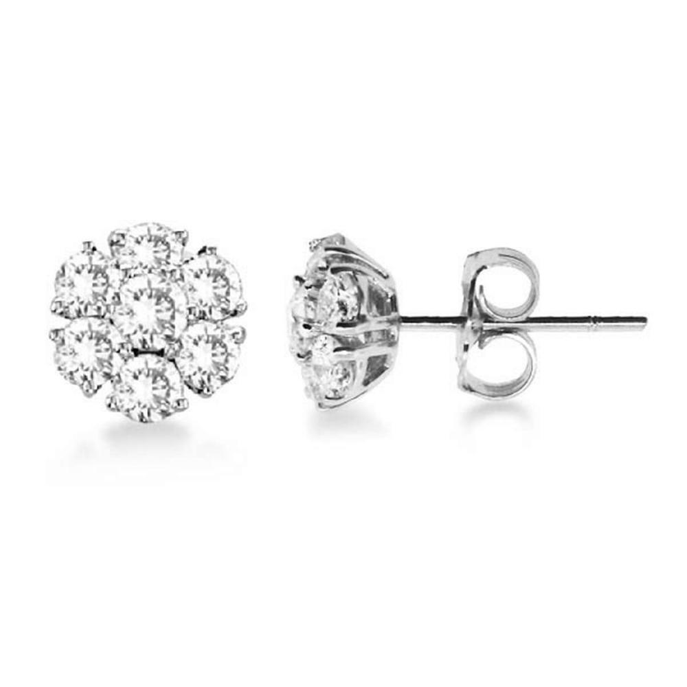 Diamond Flower Cluster Earrings in 14K White Gold (1.20ctw) #PAPPS20809