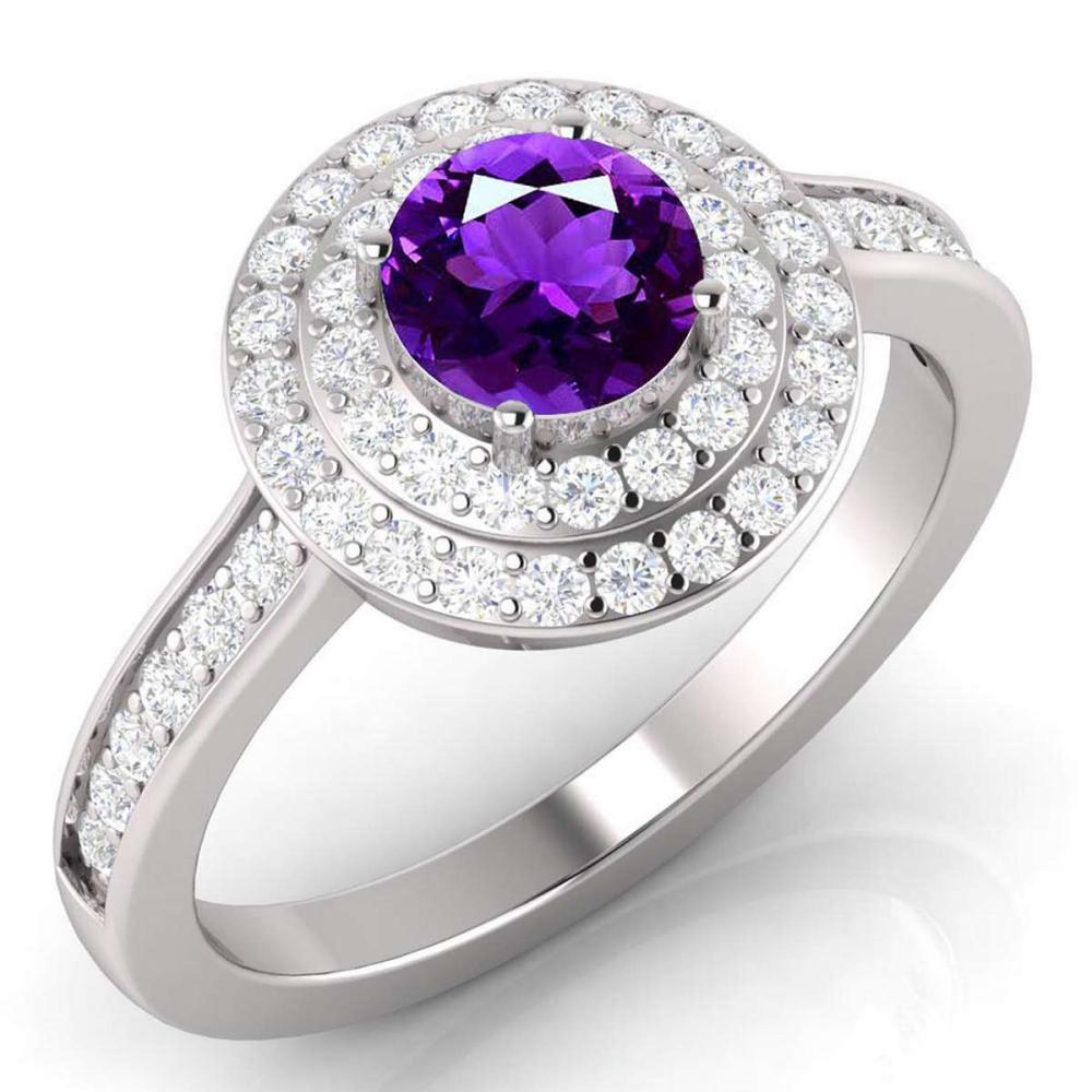 Certified 1.55 CTW Genuine Amethyst And Diamond 14K White Gold Ring #PAPPS91941