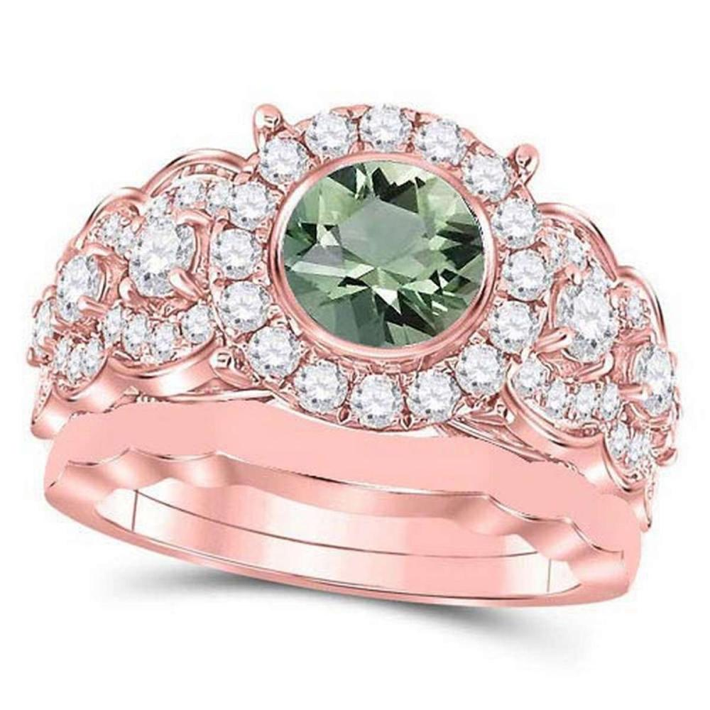 Certified 1.90 CTW Genuine Green Amethyst And Diamond 14K Rose Gold Ring #PAPPS91391