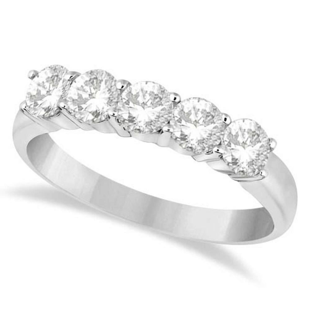 Five Stone Diamond Ring Anniversary Band 14k White Gold (1.00ctw) #PAPPS20435