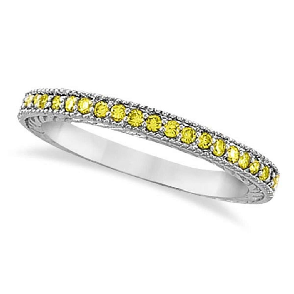 Fancy Yellow Canary Diamond Stackable Ring Band 14Kt White Gold (0.31ct) #PAPPS20867