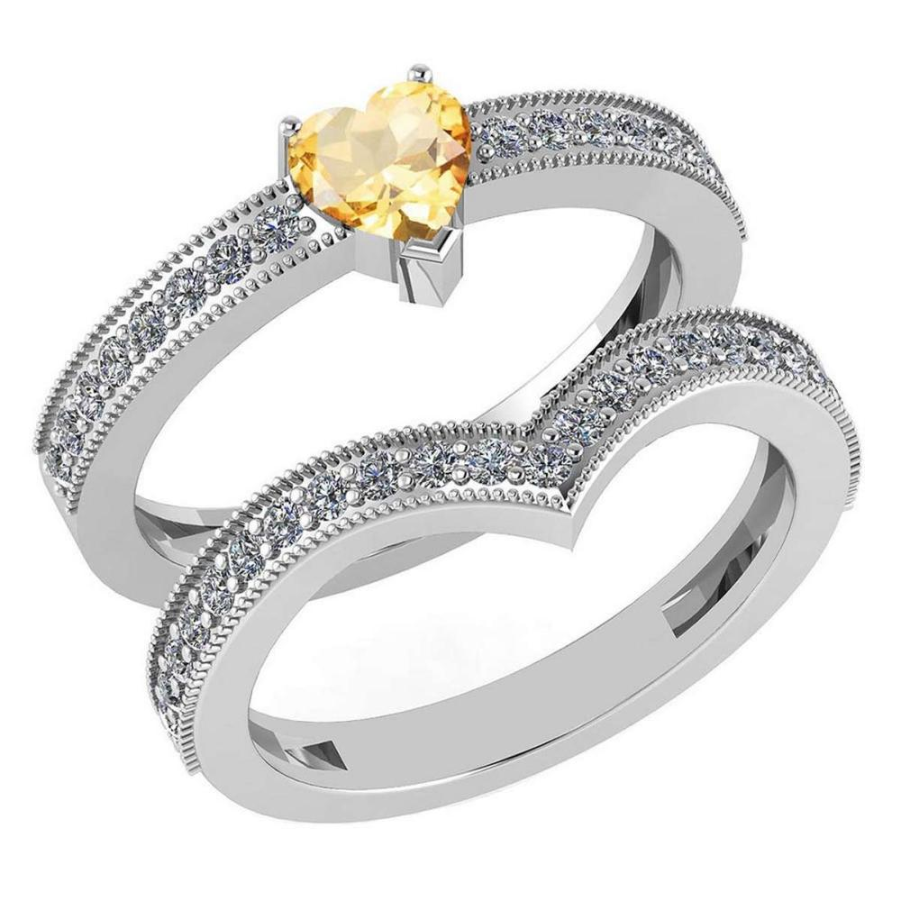 Certified 0.90 Ctw Citrine And Diamond Wedding/Engagement 14K White Gold Halo Ring #PAPPS16789
