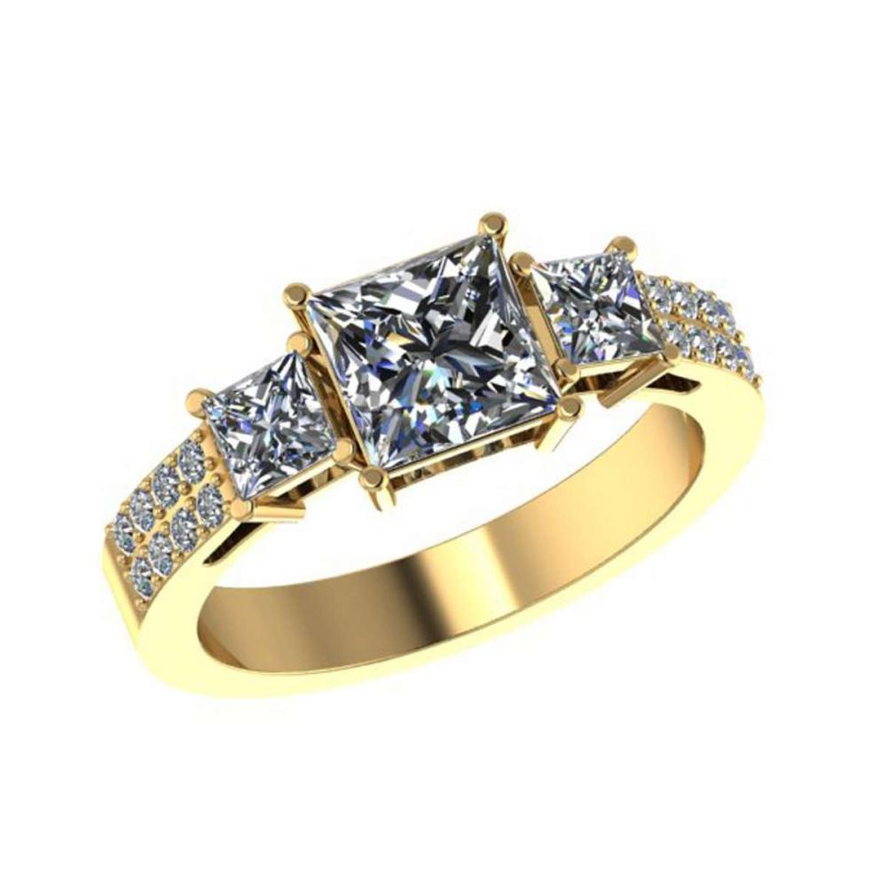 Certified 1.50 CTW Princess And Round Diamond 14K Yellow Gold Ring #PAPPS92093