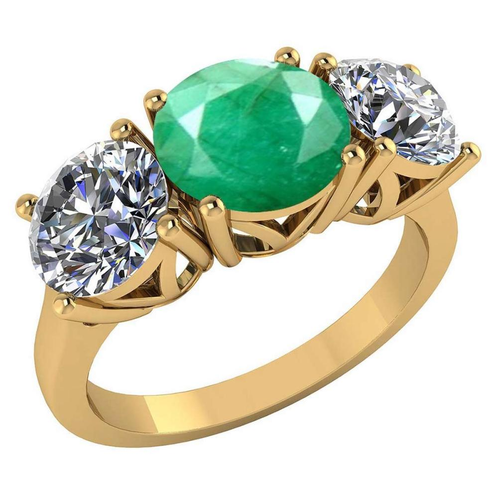 Certified 1.60 CTW Genuine Emerlad And Diamond 14K Yellow Gold Ring #PAPPS92205
