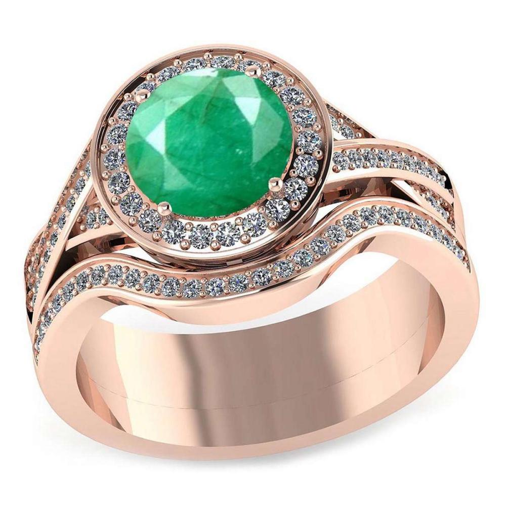 Certified 2.05 CTW Genuine Emerald And Diamond 14K Rose Gold Ring #PAPPS91414