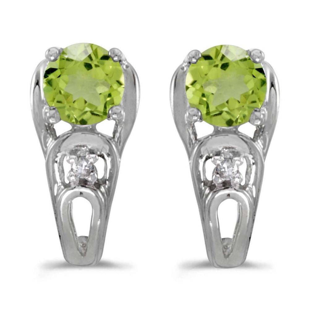 Certified 14k White Gold Round Peridot And Diamond Earrings 0.83 CTW #PAPPS25008