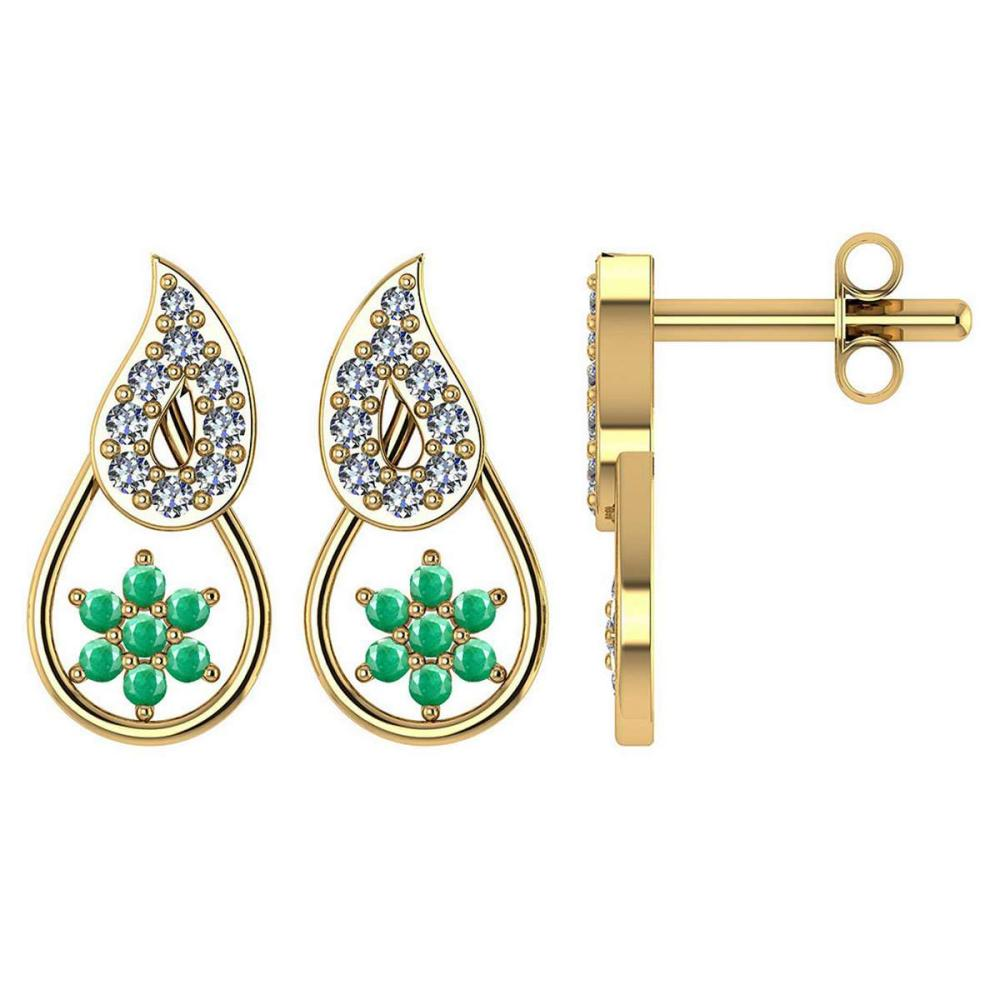 Certified .16 CTW Genuine Emerald And Diamond 14K Yellow Gold Stud Earrings #PAPPS93608