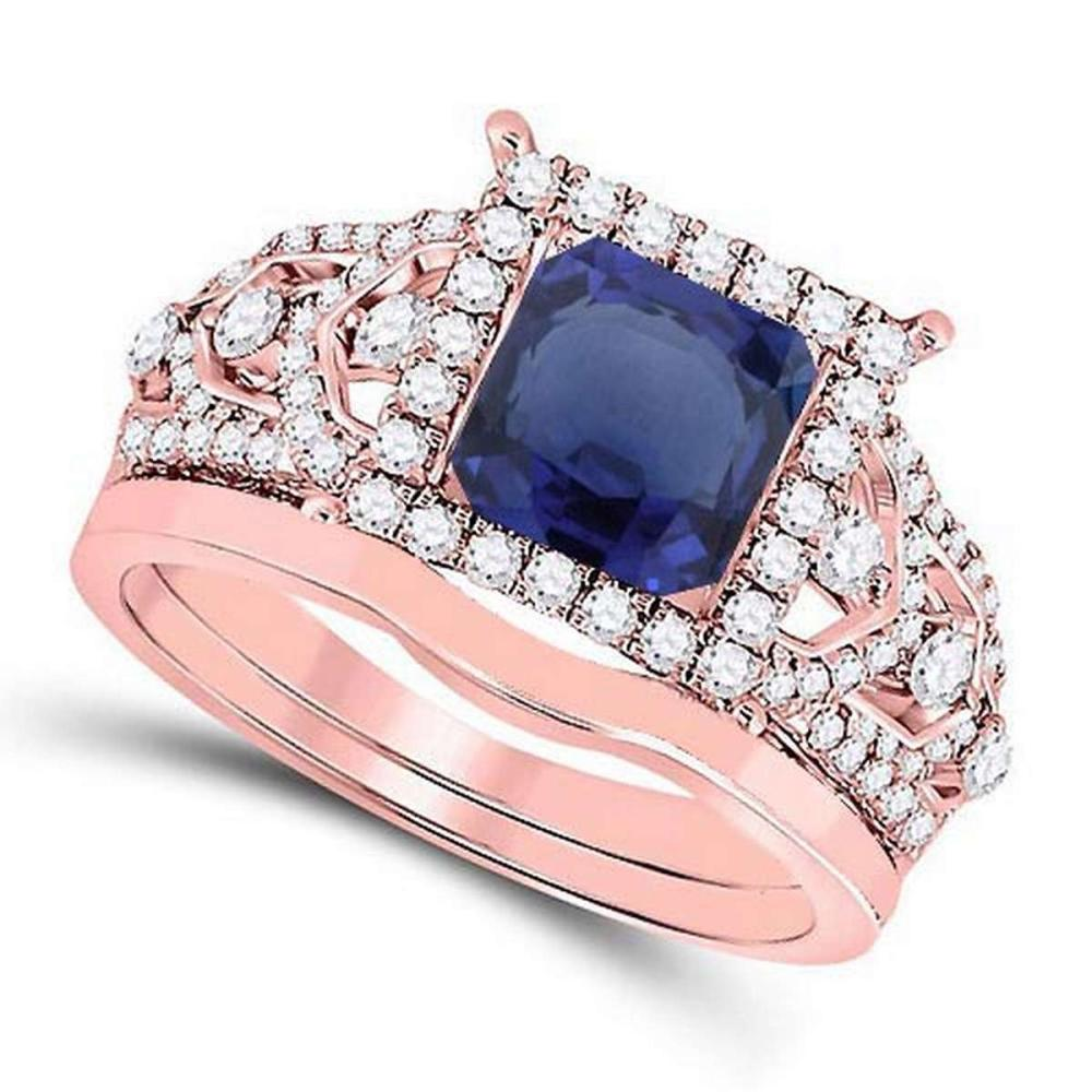 Certified 2.30 CTW Genuine Blue Sapphire And Diamond 14K Rose Gold Ring #PAPPS91333