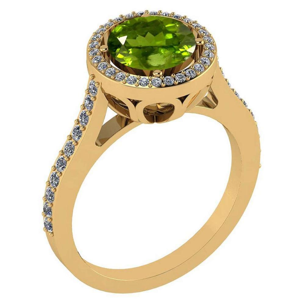 2.23 Ctw Peridot And Diamond 14k Yellow Gold Halo Ring #PAPPS96806