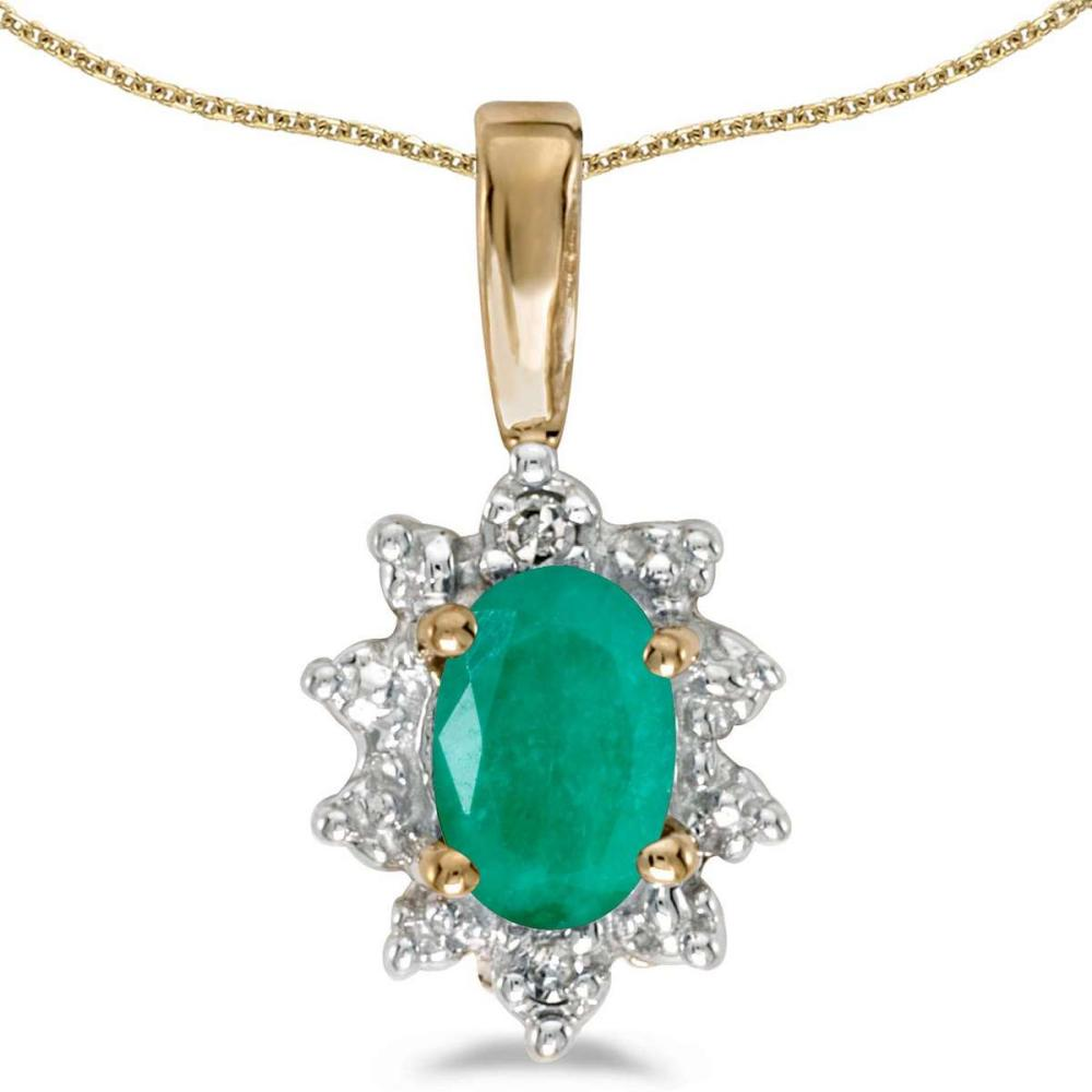 Certified 14k Yellow Gold Oval Emerald And Diamond Pendant 0.32 CTW #PAPPS25033