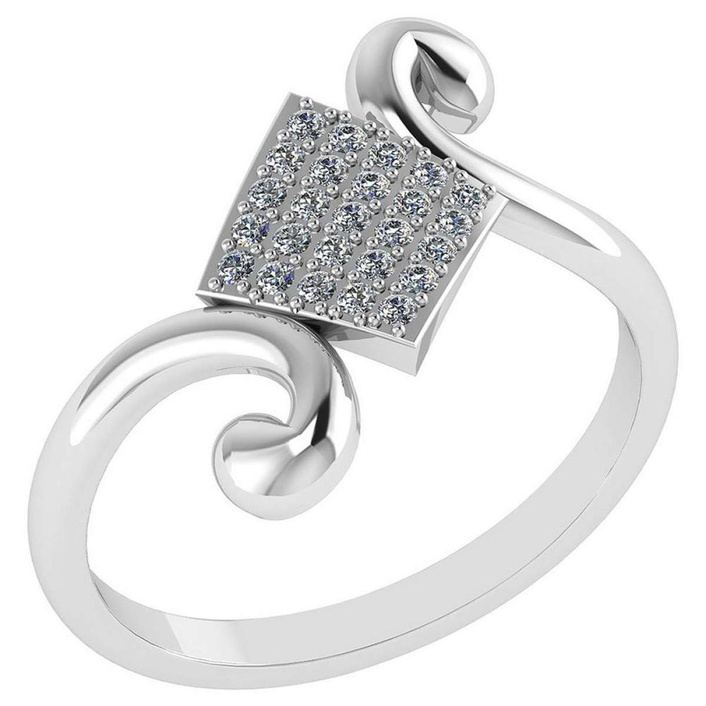 Certified .25 CTW Diamond Genuine 14K White Gold Simple Ring #PAPPS93482