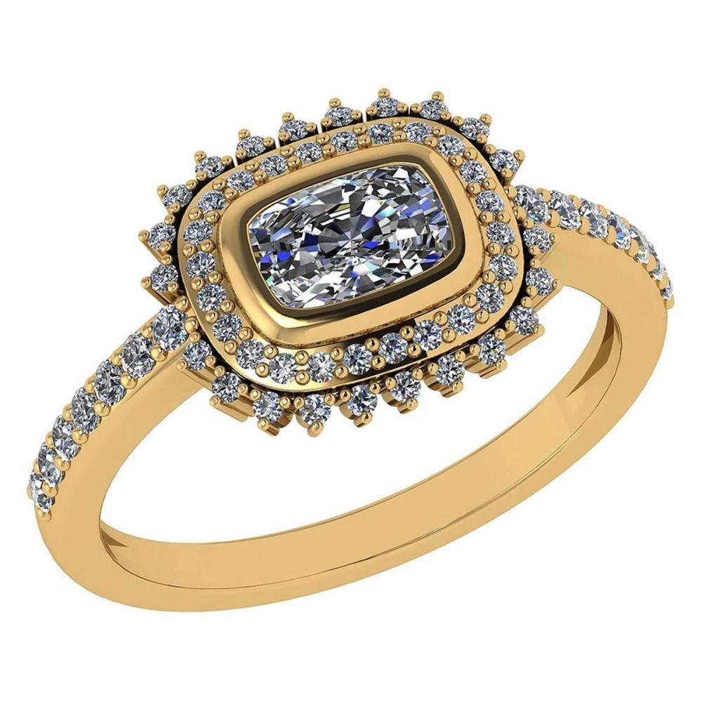 1.94 Ctw Diamond 14k Yellow Gold Halo Ring VS/SI2 #PAPPS96927