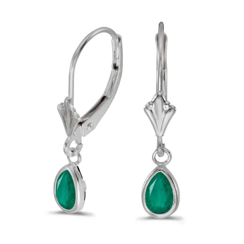Certified 14k White Gold Pear Emerald Bezel Lever-back Earrings 0.66 CTW #PAPPS24958
