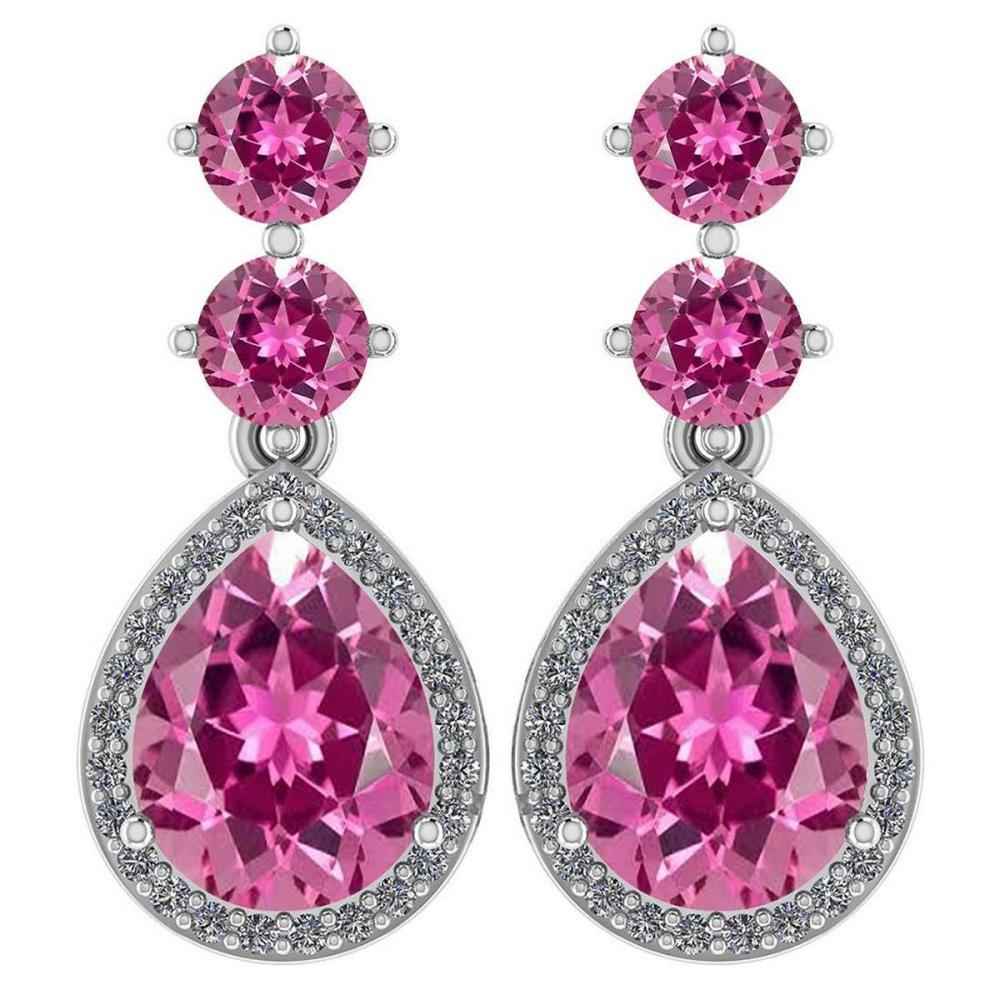 Certified 5.17 Ctw Pink Tourmaline And Diamond 14k White Gold Halo Dangling Earrings #PAPPS95359