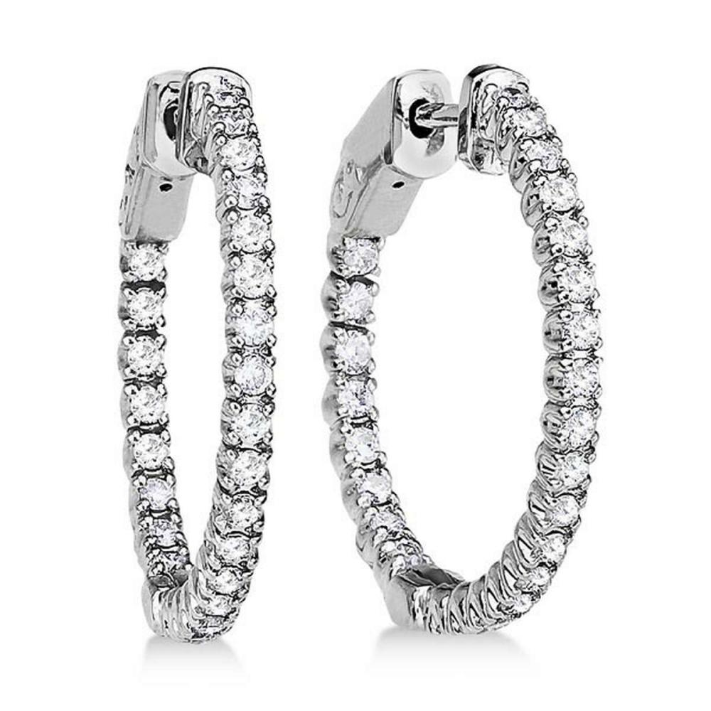 Prong-Set Diamond Hoop Earrings in 14k White Gold (1.00ct) #PAPPS20829