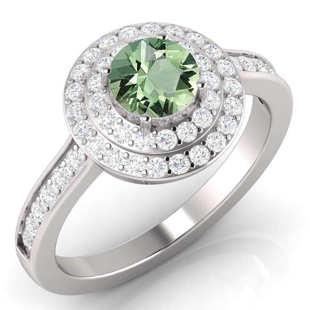 Certified 1.65 CTW Genuine Green Amethyst And Diamond 14K White Gold Ring #PAPPS91942