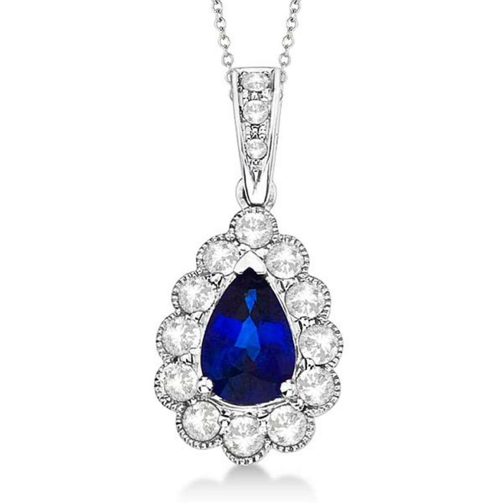 Pear Sapphire and Diamond Pendant Necklace in 14K White Gold (0.90ct) #PAPPS21226