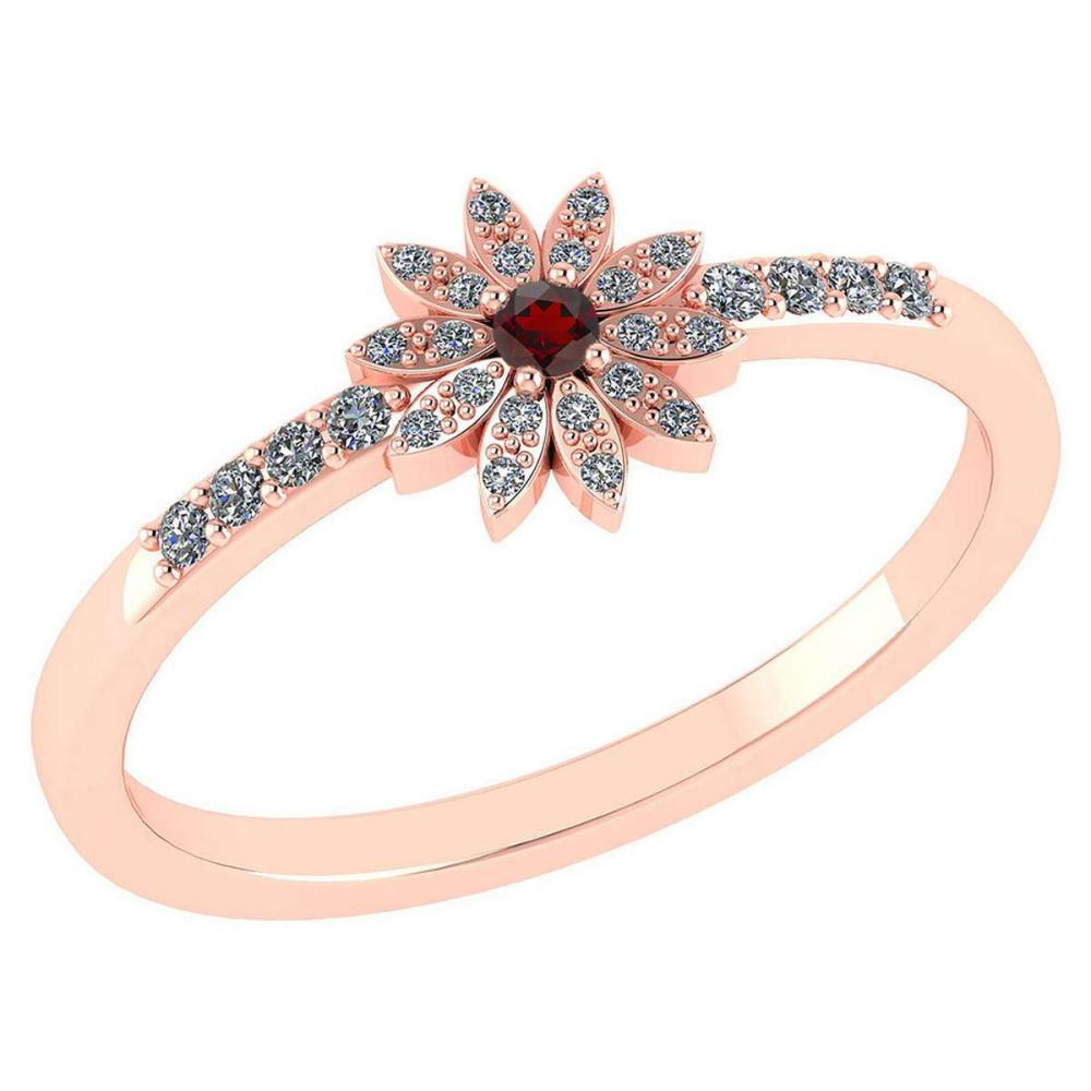 Certified .16 CTW Genuine Garnet And Diamond 14K Rose Gold Ring #PAPPS93507