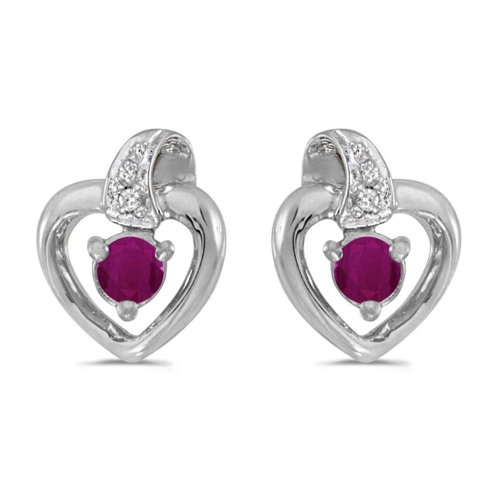 Certified 14k White Gold Round Ruby And Diamond Heart Earrings 0.25 CTW #PAPPS24980
