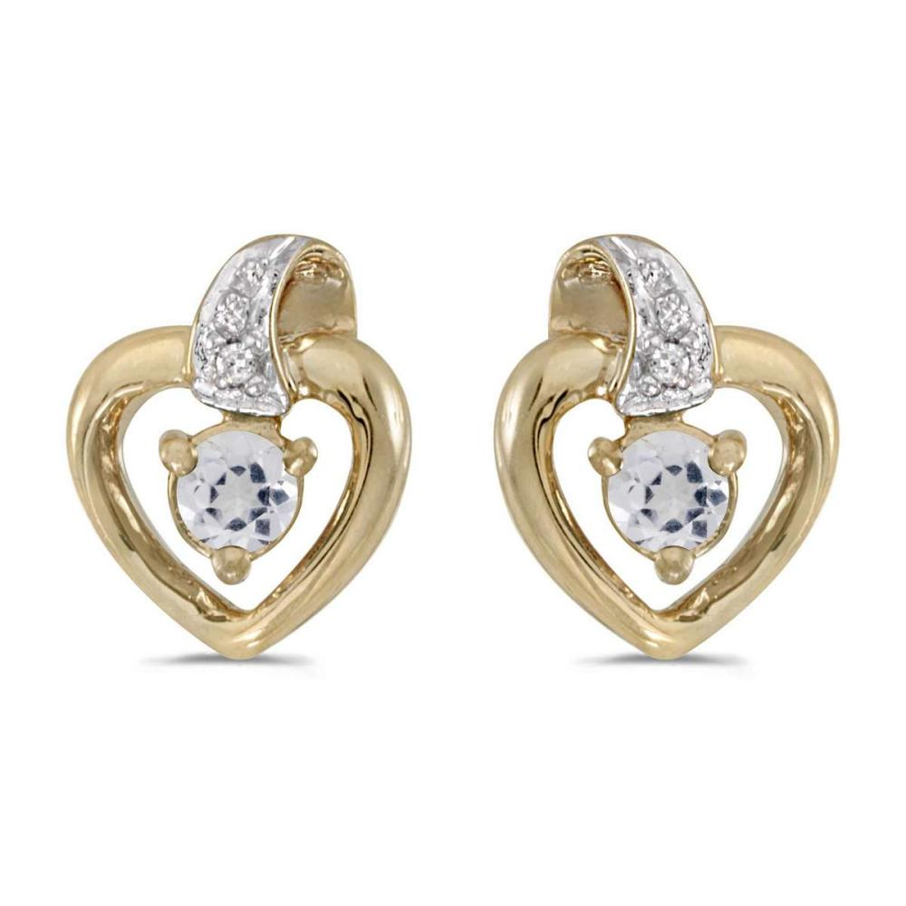Certified 10k Yellow Gold Round White Topaz And Diamond Heart Earrings 0.23 CTW #PAPPS25004