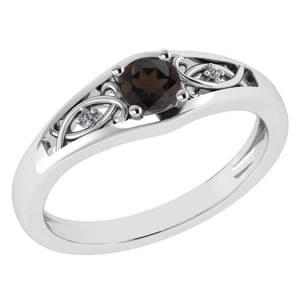 Certified 0.37 Ctw Smoky Quarzt And Diamond 14k White Gold Halo Ring #PAPPS95467